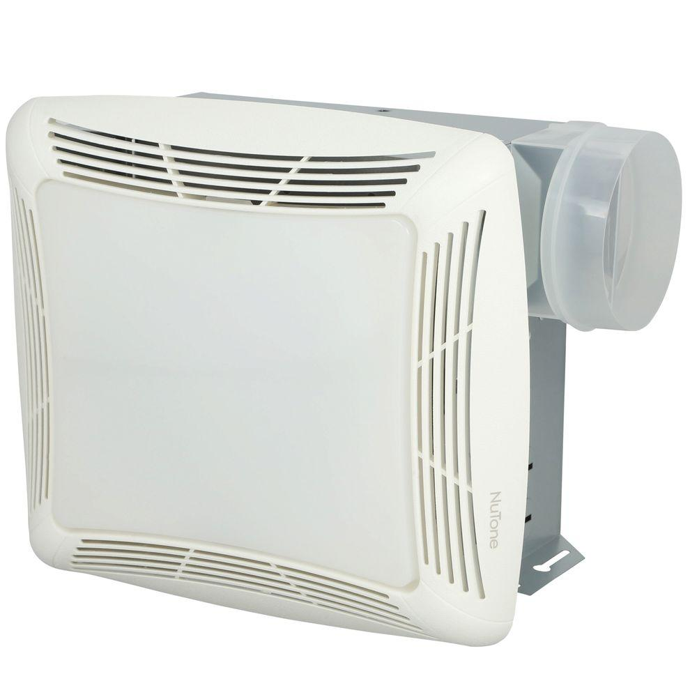 nutone 70 cfm ceiling bathroom exhaust fan with light white grille and light