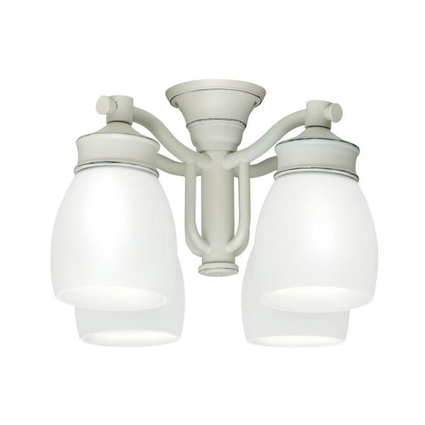 Casablanca 4 Light Cottage White Ceiling Fan Fixture with Cased     Casablanca 4 Light Cottage White Ceiling Fan Fixture with Cased White Glass