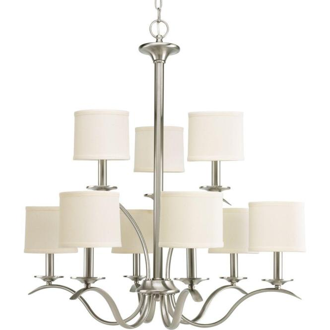 Progress Lighting Inspire Collection 9 Light Brushed Nickel Chandelier With Shade P4638 09 The Home Depot