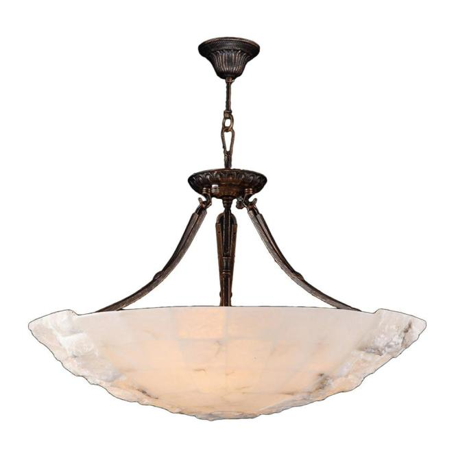 Worldwide Lighting Pompeii 5 Light Flemish Brass Natural Quartz Large Bowl Pendant