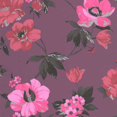 Purple   Floral   Bohemian   Wallpaper   Decor   The Home Depot Eden Exotic Removable Wallpaper