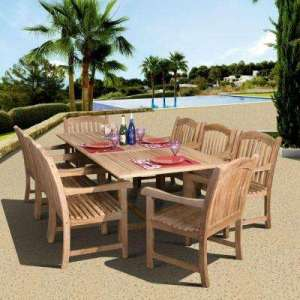 Teak   Patio Dining Sets   Patio Dining Furniture   The Home Depot Newcastle 9 Piece Teak Patio Dining Set