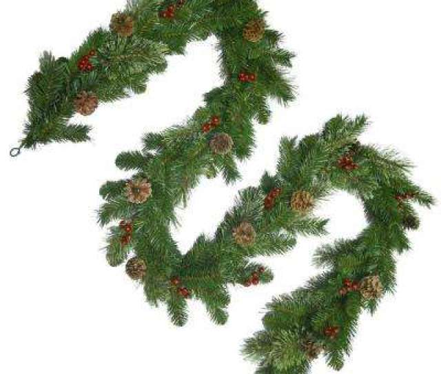 Unlit Cashmere Artificial Garland With Pinecones And Red Berries