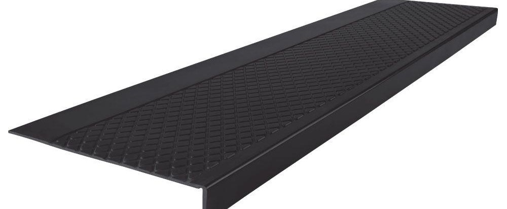 Diamond Profile Black 12 In X 60 In Rubber Square Nose Stair | Rubber Treads For Outdoor Steps | Non Slip | Diamond Plate | Rubber Cal | Recycled Rubber | Rubber Matting