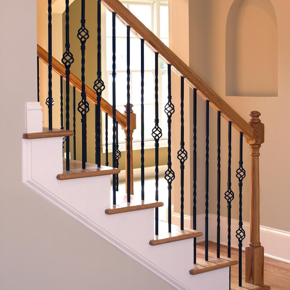 Stair Parts 1 2 In X 44 In Matte Black Metal Double Twist | Indoor Wrought Iron Railings Home Depot | Cast Iron | Balcony | Iron Baluster | Wood | Iron Stair Rail