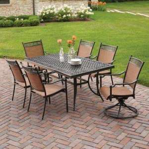 Cast Aluminum   Patio Dining Furniture   Patio Furniture   The Home     Niles Park 7 Piece Sling Patio Dining Set