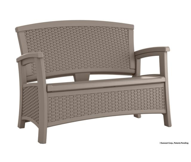 Suncast Elements Resin Outdoor Loveseat With Storage Bmwbdt The Home Depot