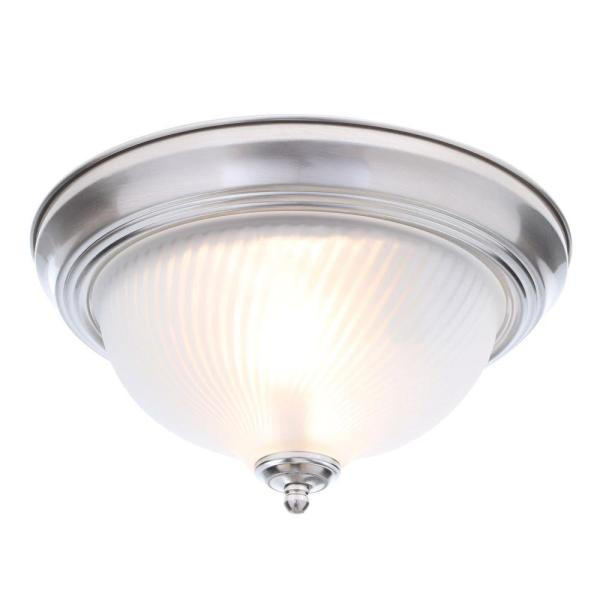 Hampton Bay 11 in  2 Light Brushed Nickel Flushmount with Frosted     2 Light Brushed Nickel Flushmount with Frosted Swirl Glass Shade