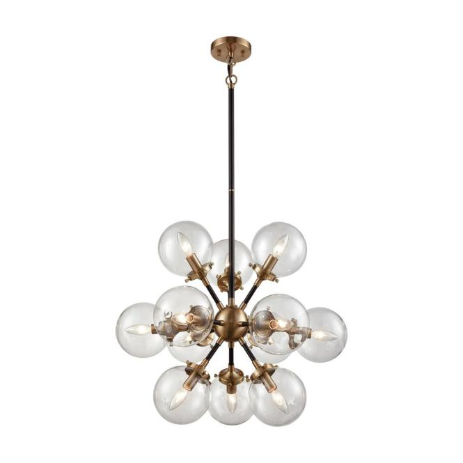 An Lighting Boudreaux 12 Light Matte Black And Antique Gold Chandelier With Clear Glass Globe