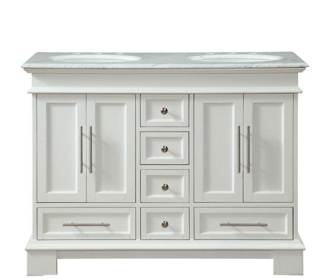 D Vanity In White With Marble Vanity Top