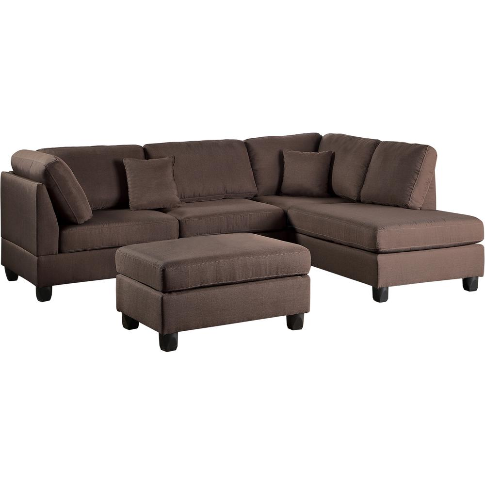 venetian worldwide madrid chocolate polyester 6 seater l shaped reversible sectional sofa with ottoman vene f7608 the home depot
