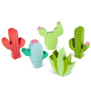 Assorted Wood Cactus Figurines Set Of 5