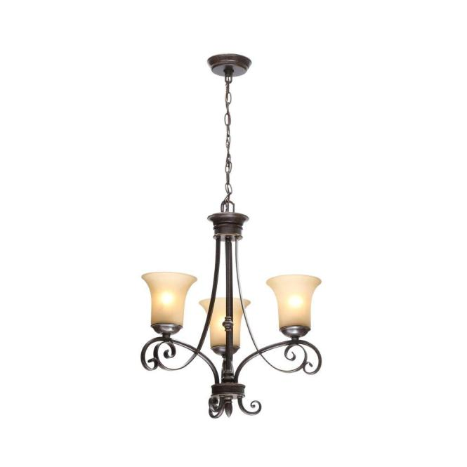 Hampton Bay Es 3 Light Aged Black Chandelier With Tea Stained Glass Shades 14708 The Home Depot