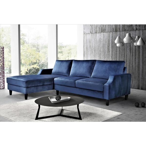 dark blue velvet 3 seater left facing sectional sofa with removable cushions