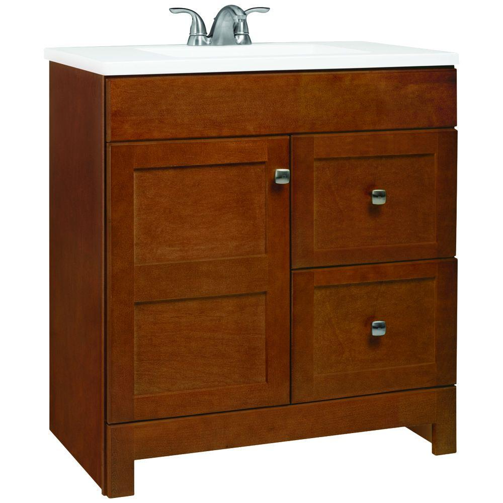 artisan 30 5 in w bathroom vanity in chestnut with cultured marble