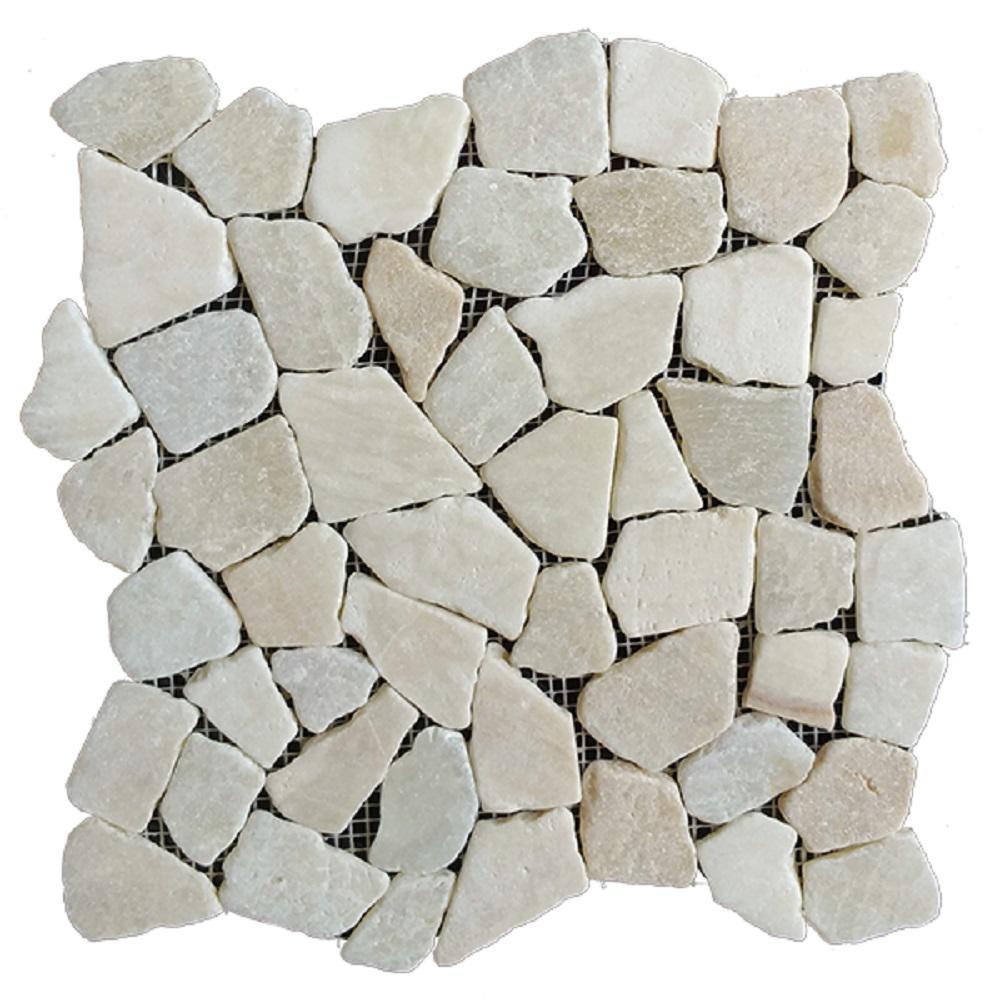 white and grey 12 x 12 stone mosaic