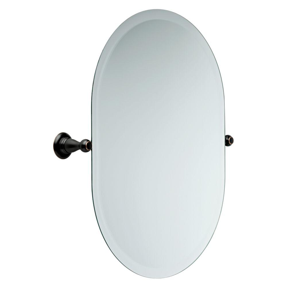 delta porter 26 in. x 23 in. frameless oval bathroom mirror with