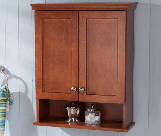 D Over The Toilet Bathroom Storage Wall Cabinet In Amber