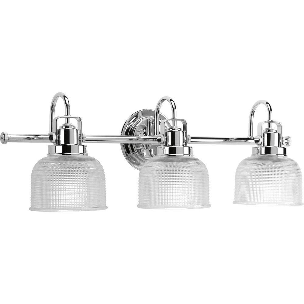 progress lighting archie collection 3-light chrome vanity light