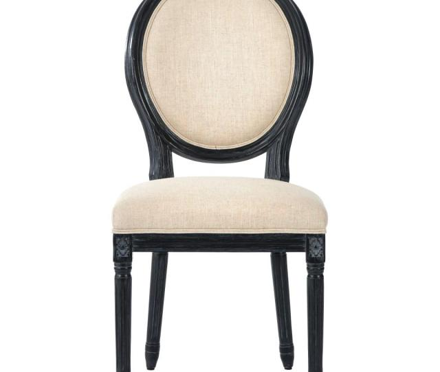 Home Decorators Collection Jacques Antique Black Natural Linen Round Back Dining Chair Set Of 2 9488510350 The Home Depot