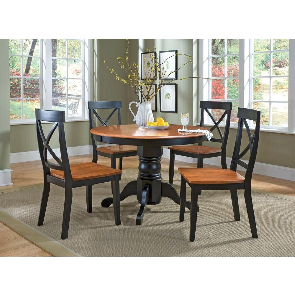 Home Styles 5 Piece Black and Oak Dining Set 5168 318   The Home Depot Home Styles 5 Piece Black and Oak Dining Set
