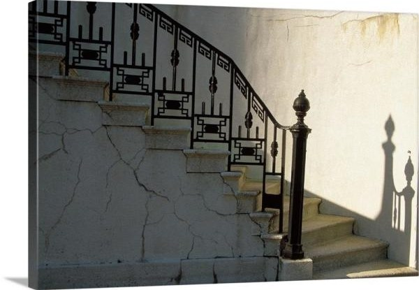 Greatbigcanvas Wrought Iron Railing And Steps With Shadow Detail | Wrought Iron Railings Home Depot | Ornamental | Front Porch | Outdoor | Indoor | Staircase
