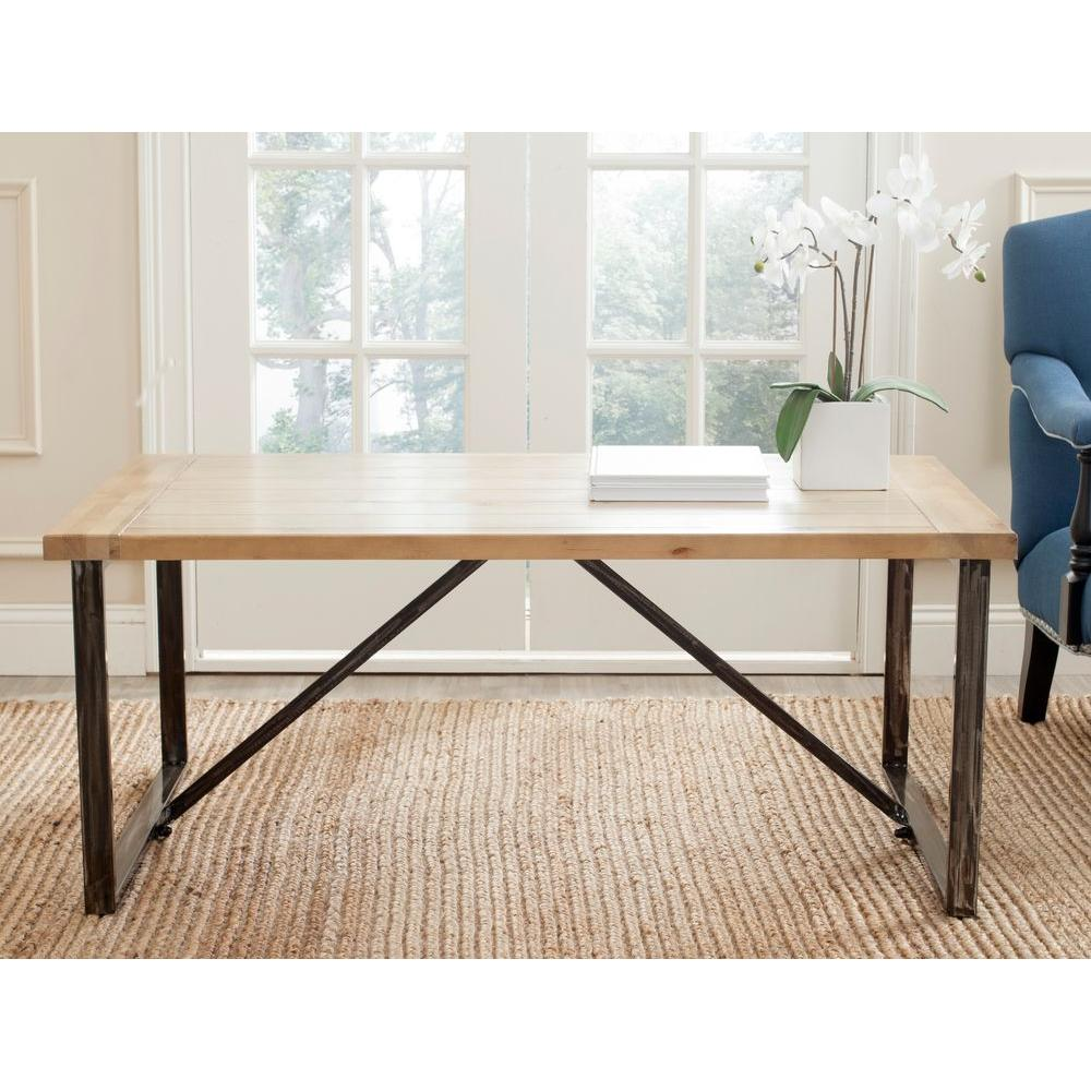 safavieh chase 49 in light oak large rectangle wood coffee table amh4129a the home depot