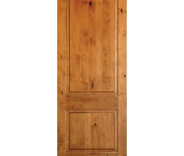 Krosswood Doors  In X  In Rustic Knotty Alder  Panel Square Top Left Hand Unfinished Solid Wood Exterior Prehung Front Door Phed Ka
