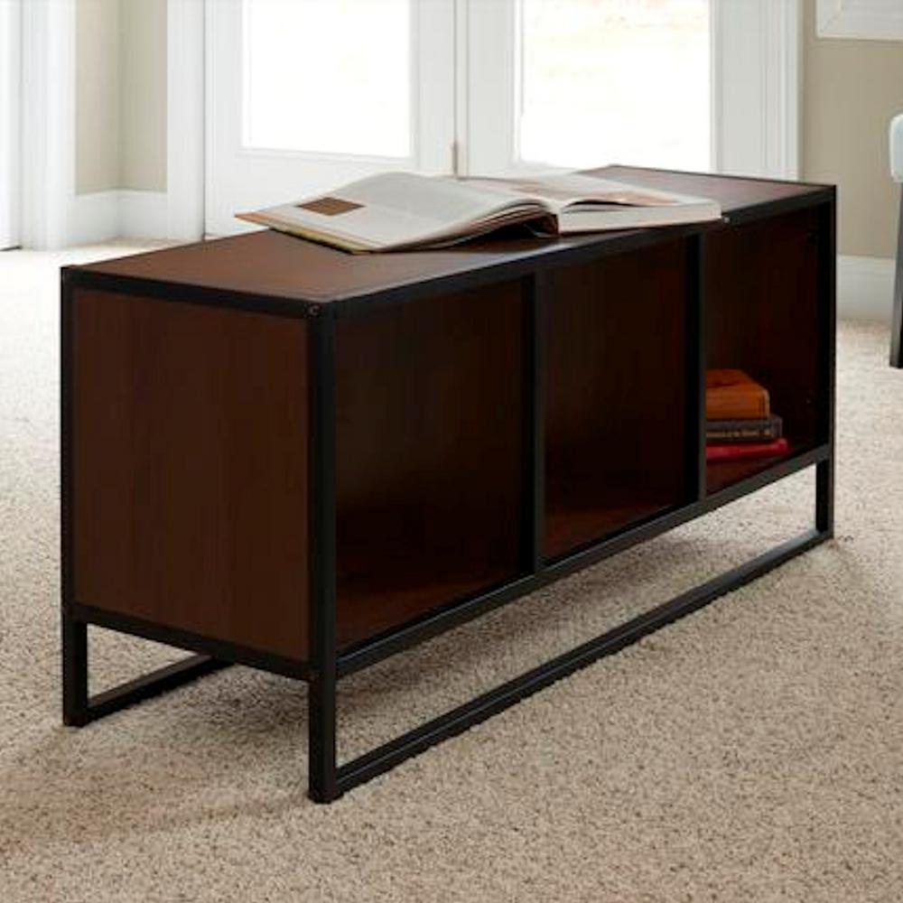 household essentials 43 in walnut large rectangle wood coffee table with storage cubes 8138 1 the home depot