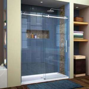 Shower Doors   Showers   The Home Depot Enigma Air 56 in  to 60 in  x 76 in  Frameless Sliding Shower
