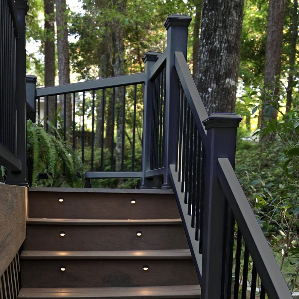 Trex 6 Ft X 36 In Black Enhance Rail And Round Aluminum Baluster   Black Outdoor Stair Railing   Black Vinyl   Cast Iron   Residential   Outside Building   Three Step