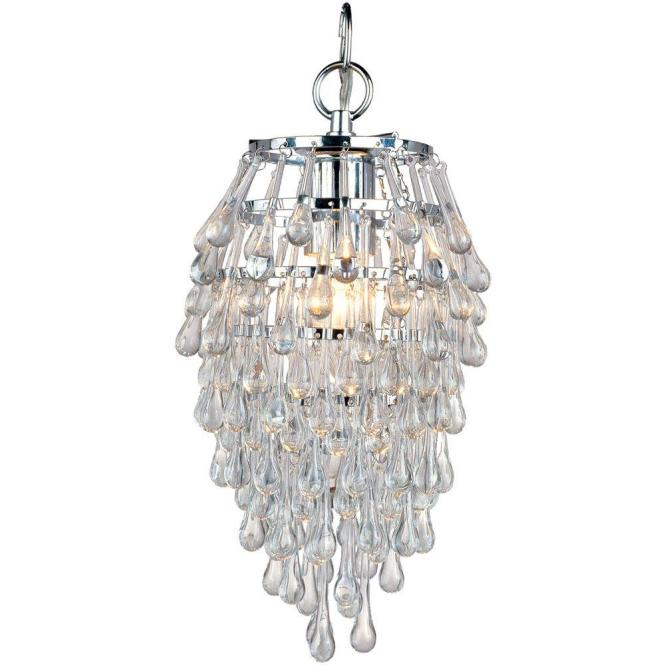 Af Lighting Crystal Teardrop 1 Light Chrome Mini Chandelier With Clear Drop Glass Beads