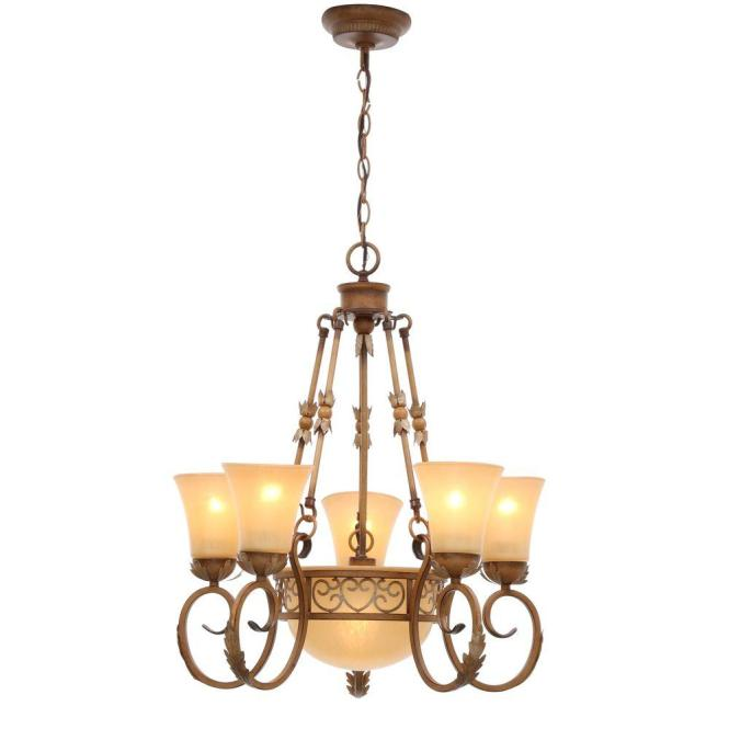 Hampton Bay Floina 6 Light Amandale Chandelier With Satin Avorio Glass Shades 17012 The Home Depot