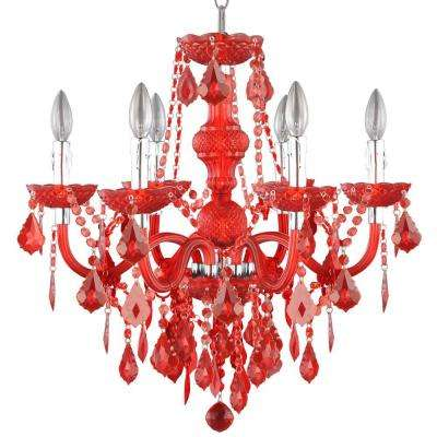 Maria Theresa 6 Light Chrome And Red Acrylic Chandelier
