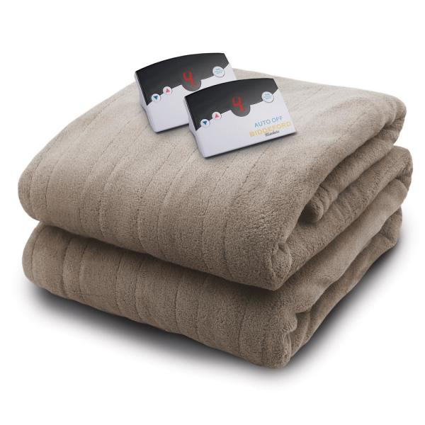 2034 series micro plush heated 100 in x 90 in taupe king size blanket