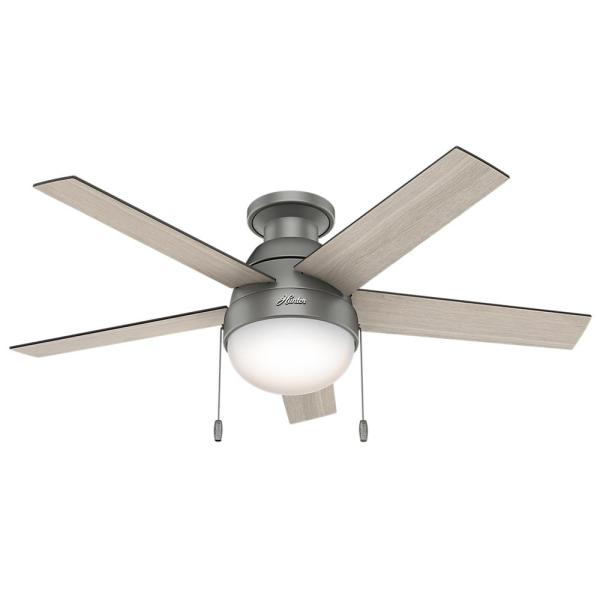 Hunter Anslee 46 in  Indoor Low Profile Matte Silver Ceiling Fan     Indoor Low Profile Matte Silver Ceiling Fan with Light