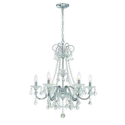 6 Light Chrome Crystal Chandelier