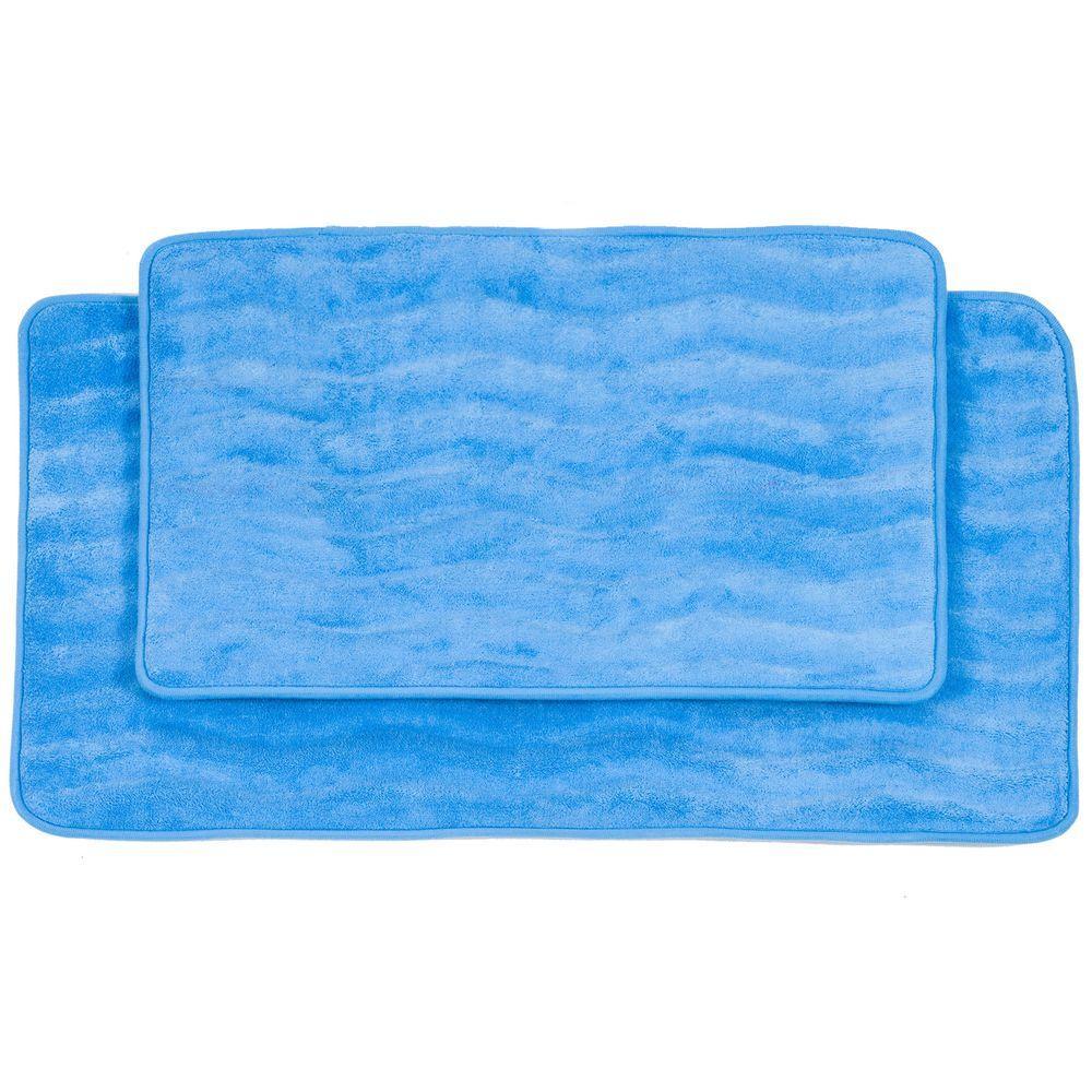 lavish home 2-piece blue memory foam bath mat set-67-10-b - the