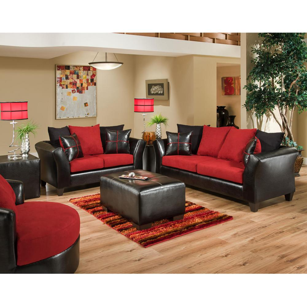 Red And White Living Room Set