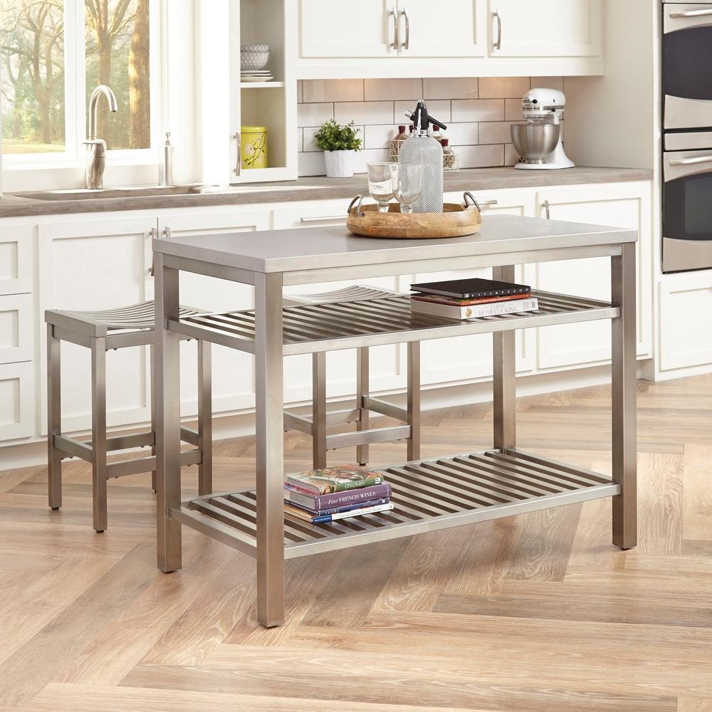 Stools   Kitchen Islands   Carts  Islands   Utility Tables   The     Brushed Satin Stainless Steel Kitchen Island with Bar Stools