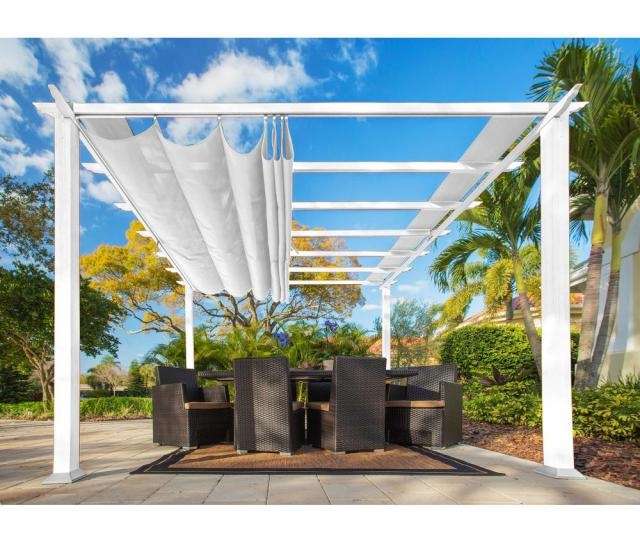 Paragon  Ft X  Ft White Aluminum Pergola With Creme Color Convertible Canopy
