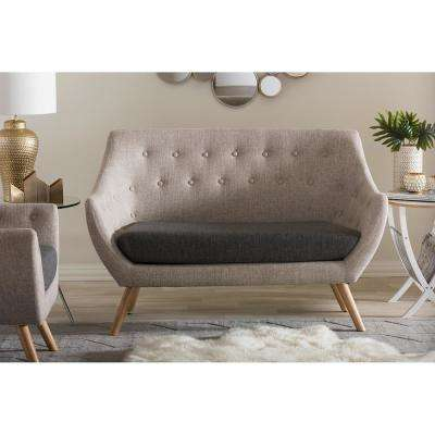 Clearance   Sofas   Loveseats   Living Room Furniture   The Home Depot Astrid Mid Century Beige Fabric Upholstered Loveseat