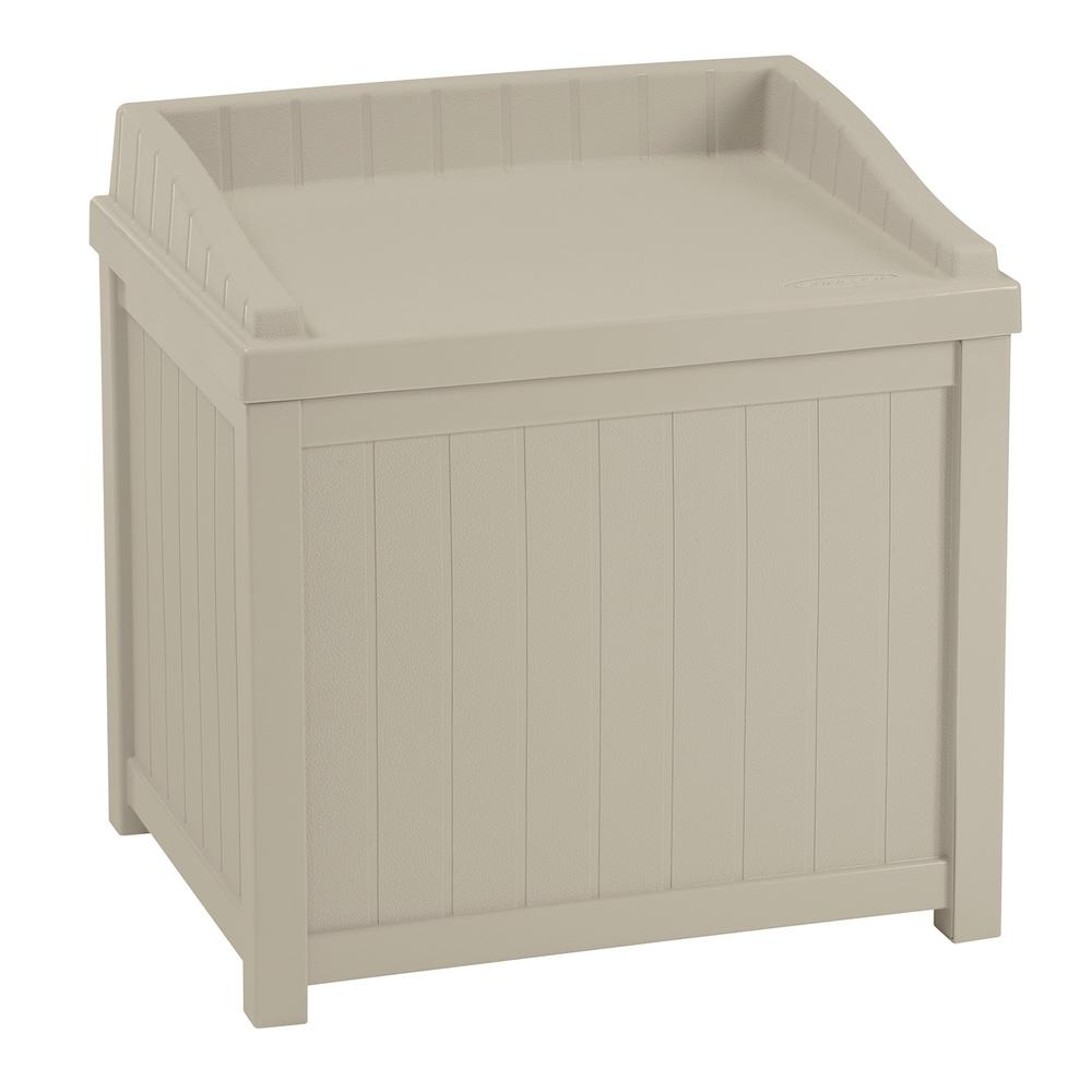 Suncast 22 Gal Taupe Small Storage Seat Deck Box Ss1000