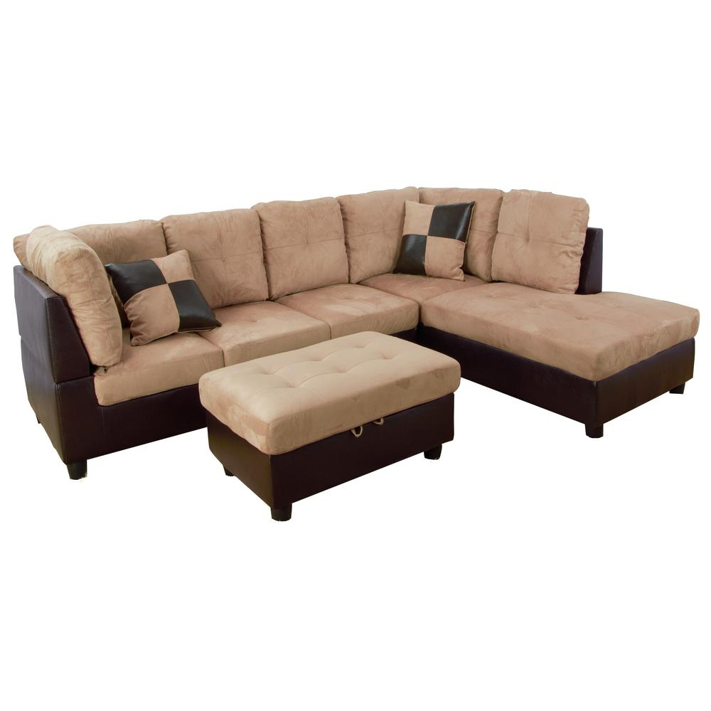 star home living light brown microfiber 3 seater right facing chaise sectional sofa with ottoman sh103b the home depot