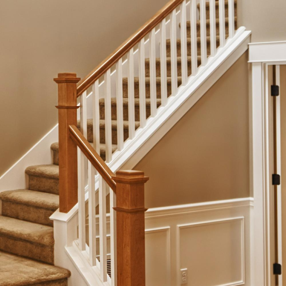 Stair Parts 6010 10 Ft Unfinished Red Oak Plowed Stair Handrail   Oak Handrail Home Depot   Bending   Handrail Fitting   Iron   6010   Quarter Turn