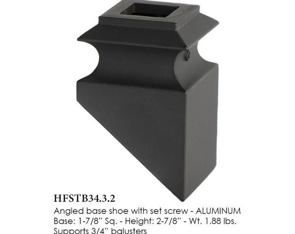 House Of Forgings Satin Black 34 3 2 Angled Base Shoes For 3 4 In | Iron Spindles Home Depot | Ole Iron Slides | Wm Coffman | Stair Parts | Oil Rubbed | Deck