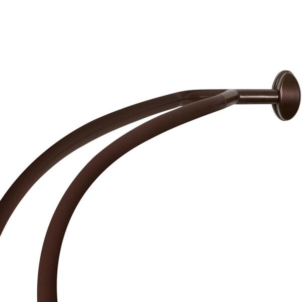 45 in to 72 in aluminum double curved shower curtain rod in bronze