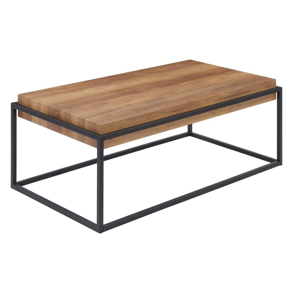 handy living lyse 45 in natural black large rectangle wood coffee table a139939 the home depot
