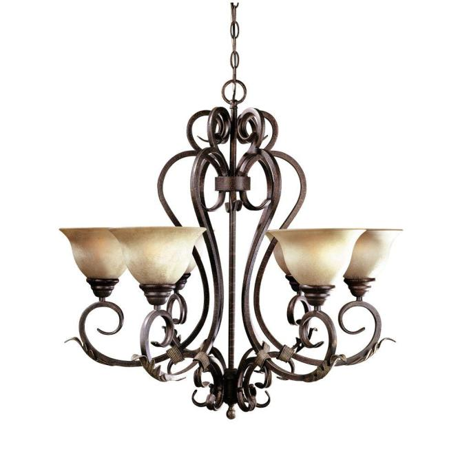 World Imports Olympus Tradition Collection 6 Light Led Bronze And Silver Chandelier With Tea