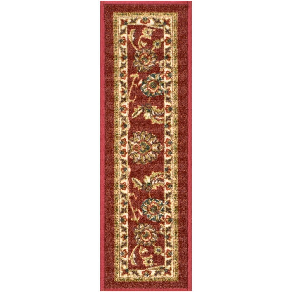 Well Woven Kings Court Tabriz Red Traditional Oriental Rubber Back   Oriental Rug Stair Treads   Flooring   Amazon   Non Slip   Bullnose Stair   Kings Court